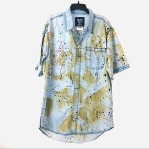 Born Fly Mens Cotton Graphic Printed Button-Down Shirt BHFO 2321